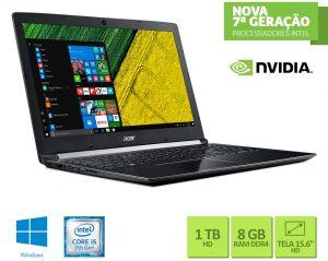 """Conheça o Notebook Acer Aspire A515-51G-58VH NXGQDAL004 com processador Intel Core i5 (7200U) de 2.5 GHz a 3.1 GHz e 3 MB cache, 8GB de memória RAM (DDR4 2133 MHz - Expansível até 20GB), HD de 1 TB (5.400 RPM), Tela LED HD antirreflexo de 15,6"""" e resolução máxima de 1280 x 720, Placa de Vídeo integrada Intel HD Graphics 620 e Geforce 940MX com 2GB (DDR5) de memória dedicada, Conexões USB e HDMI, Wi-Fi 802.11 ac, Não possui Drive de DVD, Bateria de 4 células (3220 mAh), Peso aproximado de 2,2kg e Windows 10."""