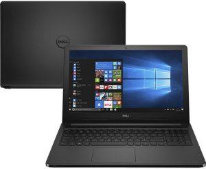 """Conheça o Notebook Dell Inspiron i15-5566-A10P com processador Intel Core i3 (6006U) de 2 GHz e 3 MB cache, 4GB de memória RAM (DDR4 2400 MHz - expansível até 8GB), HD de 1 TB (5.400 RPM), Tela LED HD com Truelife de 15,6"""" com resolução máxima de 1366 X 768, Placa de Vídeo integrada Intel HD Graphics 520, Conexões USB e HDMI, Wi-Fi 802.11 b/g/n, Não possui Drive de DVD, Bateria de 4 células (40 Wh), Peso aproximado de 2,3kg e Sistema Operacional Windows 10."""