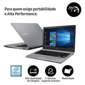 """Conheça o Notebook Samsung Expert X22s NP300E4M-KW3BR com processador Intel Core i5 (7200U) de 2.5 GHz a 3.1 GHz e 3 MB cache, 8GB de memória RAM (DDR4 2400 MHz - expansível até 8GB), HD de 1 TB (5.400 RPM), Tela LED HD de 14"""" antirreflexiva com resolução máxima de 1366 X 768, Placa de Vídeo integrada Intel HD Graphics 620, Conexões USB e HDMI, Wi-Fi 802.11 ac, Não possui Drive de DVD, Bateria de 3 células (43 Wh), Peso aproximado de 1,6kg e Sistema Operacional Windows 10."""