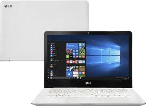 """Conheça o Notebook LG 14U360-L.BJ36P1 com processador Intel Celeron Quad Core (N3150) de 1.60 GHz a 2.08 GHz e 2 MB cache, 4GB de memória RAM (DDR3L 1600MHz - expansível até 8GB), HD de 500 GB (5.400 RPM), Tela LED HD de 14"""" com resolução máxima de 1366 x 768, Placa de Vídeo integrada Intel HD Graphics, Conexões USB e HDMI, Wi-Fi 802.11 ac, não possui Drive de DVD, Peso aproximado de 1,4kg e Windows 10."""