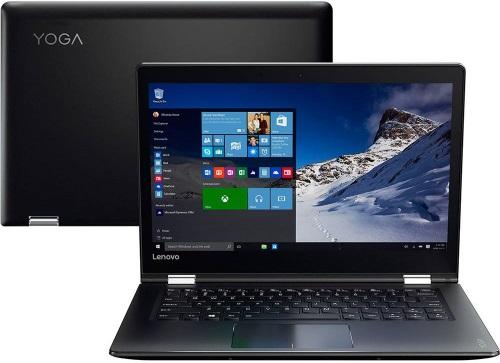 """Conheça o Notebook 2 em 1 Lenovo Yoga 510 80UK0009BR com processador Intel Core i5 (6200U) de 2.3 GHz a 2.8 GHz e 3MB cache, 4GB de memória RAM (DDR4 2133 MHz - expansível até 8GB), HD de 1TB (5.400 RPM), Tela LED HD de 14"""" resolução máxima de 1366 x 768 que gira 360º, Placa de Vídeo integrada Intel HD Graphics 520, Conexões USB e HDMI, Wi-Fi 802.11 b/g/n/ac, Não possui Drive de DVD, Bateria de 3 células (52,5Whr), Peso aproximado de 1,8kg e Windows 10 64 bits."""