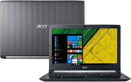 """Conheça o Notebook Acer A515-51G-70PU com processador Intel Core i7 (7500UU) de 2.7 GHz a 3.5 GHz e 4MB cache, 20GB de memória RAM (DDR4 2133 MHz), HD de 2 TB (5.400 RPM), Tela LED FULL HD de 15,6"""" antirreflexiva com resolução máxima de 1920 x 1080, Placa de Vídeo integrada Intel HD Graphics 620 e NVIDIA Geforce 940MX com 2GB de memória dedicada (GDDR5), Conexões USB e HDMI, Webcam (1280x720) Wi-Fi 802.11 b/g/n/ac, Não possui Drive de DVD, Bateria de 4 células (3220mAh), Peso aproximado de 2,2kg e Windows 10 64 bits."""