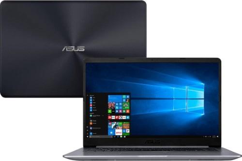 """Conheça o Notebook Asus Vivobook X510UA-BR540T com processador Intel Core i5 (7200U) de 2.5 GHz a 3.1 GHz e 4MB cache, 8GB de memória RAM (DDR4 2133MHz - 0 GB Onboard + 8 GB Offboard - expansível até 16GB), HD de 1 TB (5.400 RPM), Tela LED HD de 15,6"""" resolução máxima de 1366 x 768, Placa de Vídeo integrada Intel HD Graphics 620, Conexões USB e HDMI, Wi-Fi 802.11 b/g/n/ac, Não possui Drive de DVD, Bateria de 3 células (4000 mAh), Peso aproximado de 1,7kg e Windows 10 64 bits."""