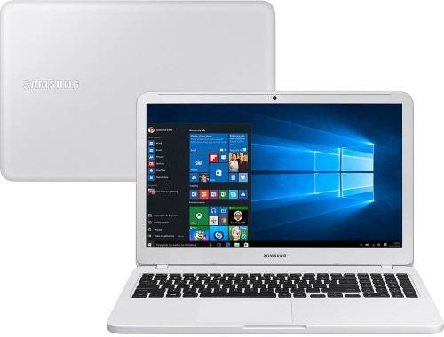 """Conheça o Notebook Samsung Essentials E20 NP350XAA-KDBBR com processador Intel Celeron Dual Core (3865U) de 1.8 GHz e 2 MB cache, 4GB de memória RAM (DDR4 2133 MHz), HD de 500 GB (5.400 RPM), Tela LED HD de 15,6"""" antirreflexiva com resolução máxima de 1366 X 768, Placa de Vídeo integrada Intel HD Graphics 610, Conexões USB e HDMI, Wi-Fi 802.11 b/g/n/ac, Não possui Drive de DVD, Bateria de 3 células (43Wh), Peso aproximado de 1,95kg e Sistema Operacional Windows 10 64 bits."""