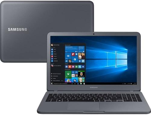 """Conheça o Notebook Samsung Essentials E30 NP350XAA-KF1BR com processador Intel Core i3 (7020U) de 2.3 GHz e 3 MB cache, 4GB de memória RAM (DDR4 2133 MHz), HD de 1 TB (5.400 RPM), Tela LED FULL HD de 15,6"""" antirreflexiva com resolução máxima de 1920 x 1080, Placa de Vídeo integrada Intel HD Graphics 620, Conexões USB e HDMI, Wi-Fi 802.11 b/g/n/ac, Não possui Drive de DVD, Bateria de 3 células(43Wh), Peso aproximado de 1,95kg e Sistema Operacional Windows 10 64 bits."""