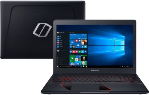 """Conheça o Notebook Gamer Samsung Odyssey NP800G5H-XG4BR com processador Intel Core i7 (7700HQ) de 2.8 GHz a 3.8 GHz e 6 MB cache Quad Core, 16GB de memória RAM (DDR4 2400MHz - expansível até 32GB), 1 TB (5.400 RPM), Tela FULL HD de 15,6"""" antirreflexiva com resolução máxima de 1920 x 1080, Placa de Vídeo integrada Intel HD Graphics 630 e Geforce GTX 1060 com 6GB de memória dedicada (GDDR5), Conexões USB e HDMI, Wi-Fi 802.11 b/g/n/ac, Webcam HD (720p), não possui Drive de DVD, Bateria de 4 células (66Wh), Teclado Retroiluminado, Peso aproximado de 2,7kg e Windows 10 64 bits."""