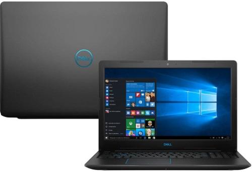 """Conheça o Notebook Dell Gamer G3-3579-A10P com processador Intel Core i5 (8300H) de 2.3 GHz a 4 GHz e 8MB cache, 8GB de memória RAM (DDR4 2666 MHz - expansível até 32GB), HD de 1 TB (5.400 RPM), Tela IPS Full HD de 15,6"""" Antirreflexo e resolução máxima de 1920 x 1080, Placa de Vídeo integrada Intel UHD Graphics 630 e NVIDIA Geforce GTX 1050 com 4GB de memória dedicada (GDDR5), Conexões USB e HDMI, Wi-Fi 802.11 b/g/n/ac, Webcam (720p), Não possui Drive de DVD, Bateria de 4 células (56 Wh), Peso aproximado de 2,5kg e Windows 10 64 bits."""
