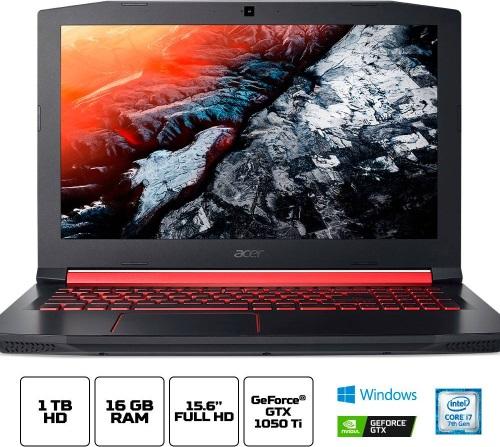 """Conheça o Notebook Gamer Acer Nitro 5 AN515-51-75KZ com processador Intel Core i7 (7700HQ) de 2.8 GHz a 3.8 GHz e 6MB cache, 16GB de memória RAM (DDR4 2400 MHz - expansível até 32GB), HD de 1 TB (5.400 RPM), Tela IPS Full HD de 15,6"""" e resolução máxima de 1920 x 1080, Placa de Vídeo integrada Intel HD Graphics 630 e NVIDIA Geforce GTX1050Ti com 4GB de memória dedicada (GDDR5), Conexões USB e HDMI, Wi-Fi 802.11 b/g/n/ac (trabalha na frequencia 2.4 GHz e 5 GHz), Webcam (720p), Não possui Drive de DVD, Bateria de 4 células (48 Wh - 3220mAh), teclado retroiluminado, Peso aproximado de 2,7kg e Windows 10 64 bits."""