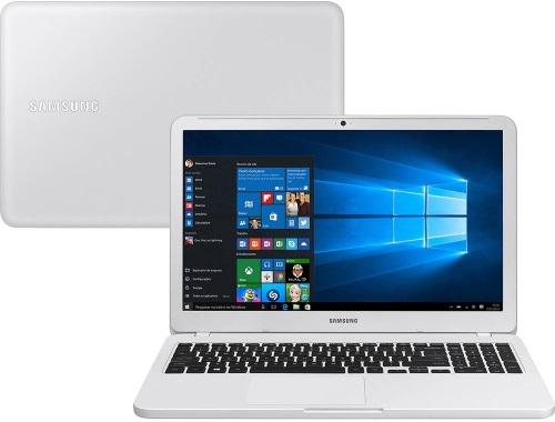"""Conheça o Notebook Samsung Expert X30 NP350XAA-KD2BR na cor branco ônix com processador Intel Core i5 (8250U) de 1.6 GHz a 3.4 GHz e 6MB cache, 8GB de memória RAM (DDR4 2133MHz), HD de 1 TB (5.400 RPM), Tela LED HD de 15,6"""" Antirreflexiva e resolução máxima de 1366 x 768, Placa de Vídeo integrada Intel UHD Graphics 620, Conexões USB e HDMI, Wi-Fi 802.11 b/g/n/ac, Não possui Drive de DVD, Bateria de 3 células (43Wh), Peso aproximado de 1,95kg e Windows 10."""