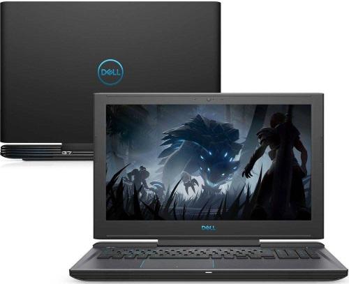 """Conheça o Notebook Gamer Dell G7-7588-M20P com processador Intel Core i7 (8750H) de 2.2 GHz a 4.1 GHz e 9MB cache, 8GB de memória RAM (DDR4 2666 MHz), HD de 1 TB (5.400 RPM) + SSD 128GB, Tela IPS Full HD de 15,6"""" Antirreflexo e resolução máxima de 1920 x 1080, Placa de Vídeo integrada Intel UHD Graphics 630 e NVIDIA Geforce GTX 1050Ti com 4GB de memória dedicada (GDDR5), Conexões USB e HDMI, Wi-Fi 802.11 b/g/n/ac (trabalha na frequencia 2.4 GHz e 5 GHz), Webcam (720p), Não possui Drive de DVD, Bateria de 4 células (56 Wh), Peso aproximado de 2,6kg e Windows 10 64 bits."""