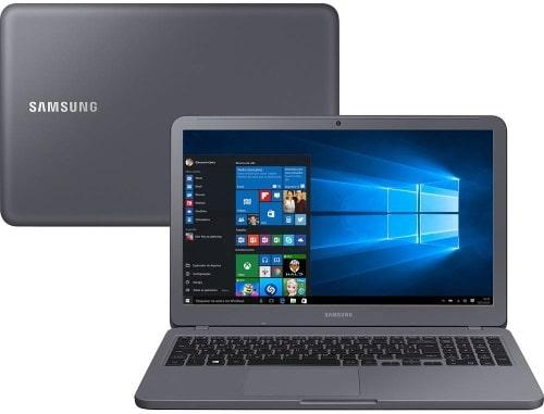 """Conheça o Notebook Samsung Expert GFX VD1BR NP350XAA-VD1BR com processador Intel Core i5 (7200U) de 2.5 GHz a 3.1 GHz e 3MB cache, 8 GB de memória RAM (DDR4 2133 MHz), HD de 1 TB (5.400 RPM), Tela LED HD de 15,6"""" antirreflexiva com resolução máxima de 1366 x 768, Placa de Vídeo integrada Intel HD Graphics 620 + NVIDIA Geforce MX110 com 2GB de memória dedicada (GDDR5), Conexões USB e HDMI, Wi-Fi 802.11 b/g/n/ac, Não possui Drive de DVD, Bateria de 3 células (43Wh), Peso aproximado de 1,95kg e Windows 10 64 bits."""