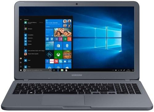 """Conheça o Notebook Samsung Expert JD1BR NP350XAA-JD1BR com processador Intel Core i5 (7200U) de 2.5 GHz a 3.1 GHz e 3MB cache, 8 GB de memória RAM (DDR4 2133 MHz), HD de 1 TB (5.400 RPM), Tela LED HD de 15,6"""" antirreflexiva com resolução máxima de 1366 x 768, Placa de Vídeo integrada Intel HD Graphics 620, Conexões USB e HDMI, Wi-Fi 802.11 b/g/n/ac, Não possui Drive de DVD, Bateria de 3 células (43Wh), Peso aproximado de 1,95kg e Windows 10 64 bits."""