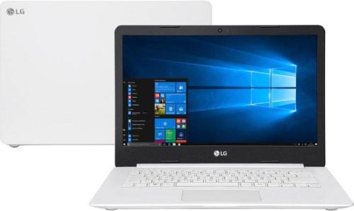 """Conheça o Notebook LG 14U380-L.BJ41P1 com processador Intel Celeron Dual Core (N4000) de 1.1 GHz a 2.6 GHz e 4 MB cache, 4GB de memória RAM (DDR4 2400MHz), HD de 500 GB (5.400 RPM), Tela LED HD de 14"""" com resolução máxima de 1366 X 768, Placa de Vídeo integrada Intel UHD Graphics 600, Conexões USB e HDMI, Wi-Fi 802.11 b/g/n, Webcam 720p com microfone, Não possui Drive de DVD, Bateria de 25 Wh, Peso aproximado de 1,4kg e Sistema Operacional Windows 10 64bits."""