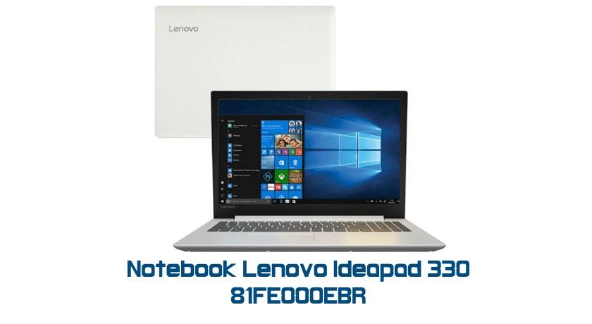 """Conheça o Notebook Lenovo Ideapad 330 81FE000EBR com processador Intel Core i5 (8250U) de 1.6 GHz a 3.4 GHz e 6MB cache, 4GB de memória RAM (DDR4 2133 MHz - expansível até 20GB), HD de 1 TB (5.400 RPM), Tela LED HD de 15,6"""" antirreflexiva com resolução máxima de 1366 x 768, Placa de Vídeo integrada Intel UHD Graphics 620, Conexões USB e HDMI, Webcam (720p), Wi-Fi 802.11 b/g/n/ac, Não possui Drive de DVD, Bateria de 2 células (30Wh), Peso aproximado de 2,06kg e Windows 10 64 bits."""