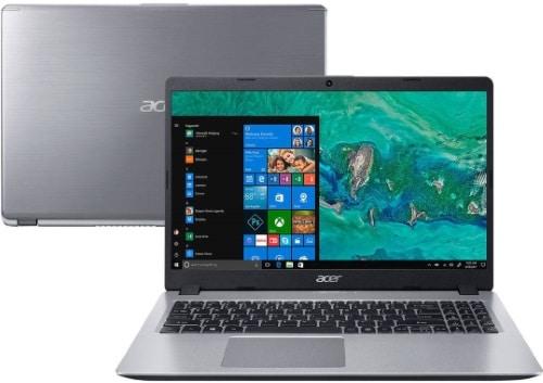 """Conheça o Notebook Acer Aspire 5 A515-52G-577T NX.HD9AL.001 com processador Intel Core i5 (8265U) de 1.6 GHz a 3.9 GHz e 6MB cache, 8GB de memória RAM (DDR4 2400MHz - expansível até 32GB sendo 2 slots soDIMM), HD de 1 TB (5.400 RPM), Tela LED HD de 15,6"""" e resolução máxima de 1366 x 768, Placa de Vídeo integrada Intel UHD Graphics 620 e NVIDIA Geforce MX130 com 2GB de memória dedicada (GDDR5), Conexões USB e HDMI, Wi-Fi 802.11 b/g/n/ac, Webcam (720p), Não possui Drive de DVD, Bateria de 3 células, Peso aproximado de 1,8kg e Windows 10 64 bits."""