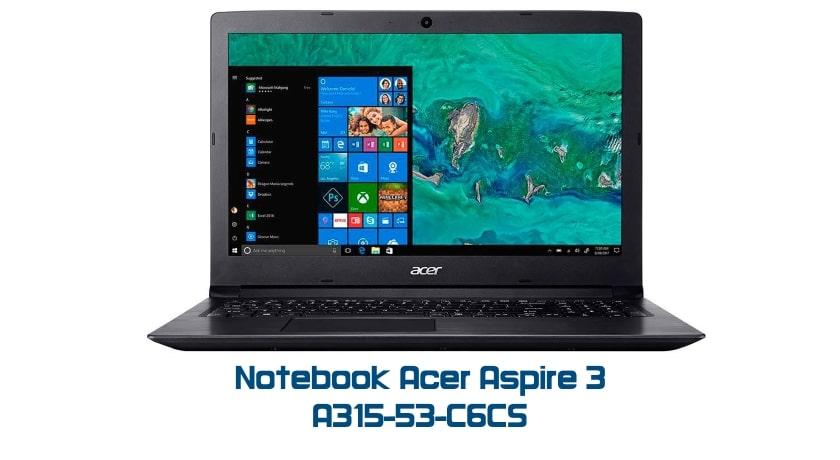 """Conheça o Notebook Acer Aspire 3 A315-53-C6CS NX.H3PAL.003 com processador Intel Core i5 (8250U) de 1.6 GHz a 3.4 GHz e 6MB cache, 4GB de memória RAM (DDR4 2400 MHz - 4GB soldado sendo expansível até 20GB), HD de 1 TB (5.400 RPM), Tela LED HD de 15,6"""" e resolução máxima de 1366 x 768, Placa de Vídeo integrada Intel UHD Graphics 620, Conexões USB e HDMI, Wi-Fi 802.11 b/g/n/ac, Webcam (VGA), Não possui Drive de DVD, Bateria de 3 células (37Wh - 4810mAh), Peso aproximado de 2,1kg e Windows 10 64 bits."""
