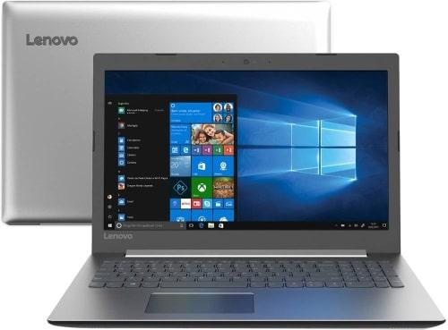 """O Notebook Lenovo Ideapad 330 81FD0002BR possui processador Intel Core i3 (6006U) de 2 GHz e 3 MB cache, 4GB de memória RAM (DDR4 2133MHz - expansível até 20 GB), HD de 1 TB (5.400 RPM), Tela LED Full HD de 15,6"""" antirreflexo com resolução máxima de 1920 X 1080, Placa de Vídeo integrada Intel HD Graphics 520, Conexões USB e HDMI, Wi-Fi 802.11 b/g/n/ac, Webcam 720p com microfone, Não possui Drive de DVD, Bateria de 2 células (30 Wh), Peso aproximado de 2,06kg e Sistema Operacional Windows 10 64bits."""