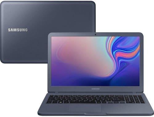 """O Notebook Samsung Essentials E20 NP350XBE-KDABR possui processador Intel Celeron Dual Core (4205U) de 1.8 GHz e 2 MB cache, 4GB de memória RAM (1X 4GB DDR4 2400 MHz - sendo 2 SO-DIMM), HD de 500 GB (5.400 RPM), Tela LED HD de 15,6"""" antirreflexiva com resolução máxima de 1366 x 768, Placa de Vídeo integrada Intel UHD Graphics 610, Conexões USB e HDMI, Wi-Fi 802.11 b/g/n/ac, Webcam (VGA), Não possui Drive de DVD, Bateria de 3 células(43Wh), Peso aproximado de 1,95kg e Sistema Operacional Windows 10 64 bits."""