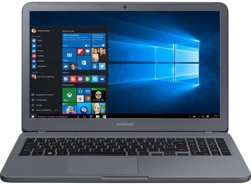 """O Notebook Samsung Essentials E30 NP350XAA-KF3BR possui processador Intel Core i3 (7020U) de 2.3 GHz e 3 MB cache, 4GB de memória RAM (DDR4 2133 MHz - expansível até 16GB), HD de 1 TB (5.400 RPM), Tela LED FULL HD de 15,6"""" antirreflexiva com resolução máxima de 1920 x 1080, Placa de Vídeo integrada Intel HD Graphics 620, Conexões USB e HDMI, Wi-Fi 802.11 b/g/n/ac, Não possui Drive de DVD, Bateria de 3 células(43Wh), Peso aproximado de 1,95kg e Sistema Operacional Windows 10 64 bits."""