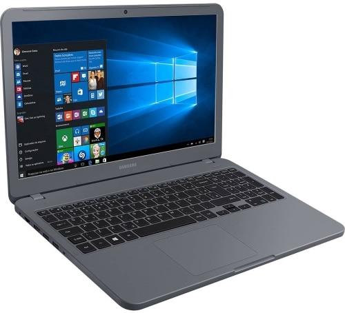 """Conheça o Notebook Samsung Expert X20 NP350XAA-KFWBR na cor titanium com processador Intel Core i5 (8250U) de 1.6 GHz a 3.4 GHz e 6MB cache, 4GB de memória RAM (DDR4 2133 MHz), HD de 1 TB (5.400 RPM), Tela LED Full HD de 15,6"""" antirreflexiva com resolução máxima de 1920 x 1080, Placa de Vídeo integrada Intel UHD Graphics 620, Conexões USB e HDMI, Webcam (720p) Wi-Fi 802.11 b/g/n/ac, Não possui Drive de DVD, Bateria de 3 células (43Wh), Peso aproximado de 1,95kg e Windows 10 64bits."""