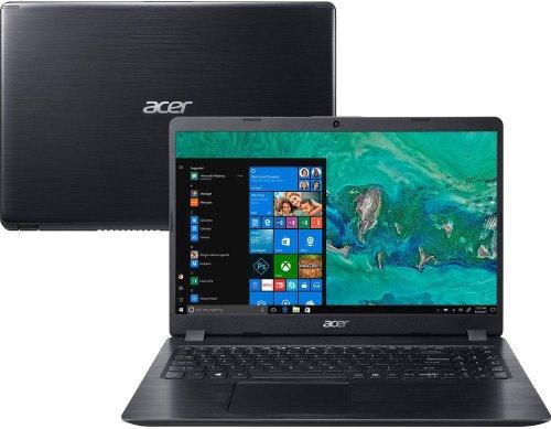 """O Notebook Acer Aspire 5 A515-52G-58LZ NX.H9HAL.004 possui processador Intel Core i5 (8265U) de 1.6 GHz a 3.9 GHz e 6MB cache, 8GB de memória RAM (DDR4 até 2400 MHz- 1x8GB - expansível até 32GB sendo 2 soDIMM), HD de 1 TB (5.400 RPM), Tela LED HD de 15,6"""" e resolução máxima de 1366 x 768, Placa de Vídeo integrada Intel UHD Graphics 620 e NVIDIA Geforce MX130 com 2GB de memória dedicada (GDDR5), Conexões USB e HDMI, Wi-Fi 802.11 b/g/n/ac, Webcam (720p), Não possui Drive de DVD, Bateria de 3 células, Peso aproximado de 1,8kg e Windows 10 64 bits."""