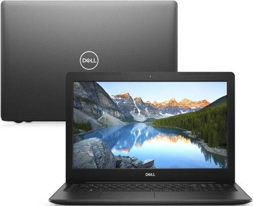 """O Notebook Dell Inspiron I15-3583-m5xp possui processador Intel Core i7 (8565U) de 1.8 GHz a 4.6 GHz e 8MB cache, 8GB de memória RAM (DDR4 2666Mhz mas com Velocidade máxima de 2400MHz devido ao barramento do processador), HD de 2 TB (5.400 RPM), Tela LED HD de 15,6"""" antirreflexiva com resolução máxima de 1366 x 768, Placa de Vídeo integrada Intel UHD Graphics 620, Conexões USB e HDMI, Wi-Fi 802.11 b/g/n/ac, Webcam (720p), Não possui Drive de DVD, Bateria de 3 células (42Wh), Teclado alfanumérico padrão ABNT2 e resistente a derramamento de líquidos, Peso aproximado de 2,03kg e Windows 10 64 bits."""