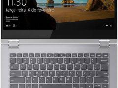 """O Notebook Lenovo Ideapad C340 81RL0001BR possui """"Digital Pen"""", processador Intel Core i7 (8565U - 8ª Geração) de 1.8 GHz a 4.6 GHz e 8MB cache, 8GB de memória RAM (DDR4 2400 MHz - 4GB soldado + 4GB slot permitindo expansão até 20GB), SSD 256GB PCIe NVMe, Tela IPS Full HD de 14"""" Multitouch com resolução máxima de 1920 x 1080, Placa de Vídeo integrada Intel UHD Graphics 620, Conexões USB e HDMI, Wi-Fi 802.11 b/g/n/ac, Não possui Drive de DVD, Bateria de 4 células(45Wh), Peso aproximado de 1,65kg e Sistema Operacional Windows 10 64 bits."""