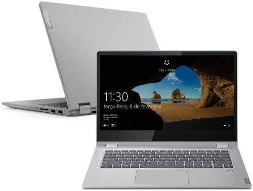 """O Notebook Lenovo Ideapad C340 81RL0005BR possui processador Intel Core i3 (8145U) de 2.1 GHz a 3.9 GHz e 4 MB cache, 4GB de memória RAM (DDR4 2400 MHz - 4GB soldado permitindo expansão até 20GB), SSD 128GB PCIe NVMe, Tela LED HD de 14"""" Multitouch com resolução máxima de 1366 x 768, Placa de Vídeo integrada Intel UHD Graphics 620, Conexões USB e HDMI, Wi-Fi 802.11 b/g/n/ac, Não possui Drive de DVD, Bateria de 4 células(45Wh), Peso aproximado de 1,65kg e Sistema Operacional Windows 10 64 bits."""