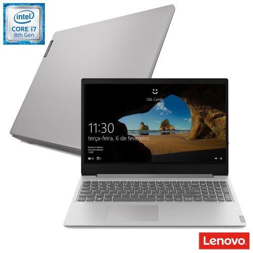 """O Notebook Lenovo Ideapad S145 81S90002BR possui processador Intel Core i7 (8565U) de 1.8 GHz a 4.6 GHz e 8MB cache, 12GB de memória RAM (DDR4 2400 - 4GB soldado + 8GB slot com suporte para até 20GB), HD de 1 TB (5.400 RPM), Tela LED Full HD de 15,6"""" antirreflexiva e resolução máxima de 1920 x 1080, Placa de Vídeo integrada Intel UHD Graphics 620 e NVIDIA Geforce MX110 com 2GB de memória dedicada (GDDR5), Conexões USB e HDMI, Wi-Fi 802.11 b/g/n/ac, Webcam (0.3 MP), Não possui Drive de DVD, Bateria de 2 células (35Wh), Peso aproximado de 1,85kg e Windows 10 64 bits."""