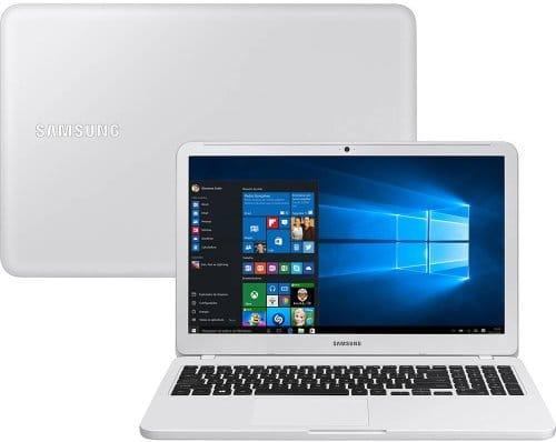"""O Notebook Samsung Essentials E30 NP350XAA-KF4BR possui processador Intel Core i3 (7020U) de 2.3 GHz e 3 MB cache, 4GB de memória RAM (DDR4 2133 MHz - expansível até 16GB), HD de 1 TB (5.400 RPM), Tela LED FULL HD de 15,6"""" antirreflexiva com resolução máxima de 1920 x 1080, Placa de Vídeo integrada Intel HD Graphics 620, Conexões USB e HDMI, Wi-Fi 802.11 b/g/n/ac, Não possui Drive de DVD, Bateria de 3 células(43Wh), Peso aproximado de 1,95kg e Sistema Operacional Windows 10 64 bits."""