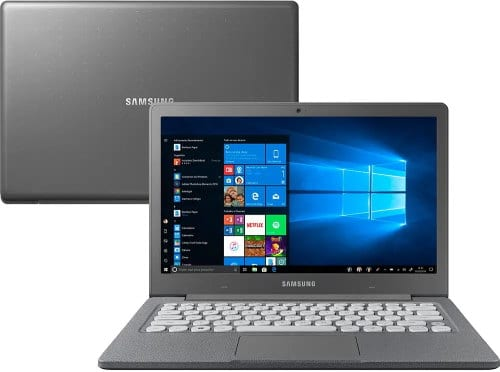 """O Notebook Samsung Flash F30 NP530XBB-AD1BR com processador Intel Celeron Dual Core (N4000) de 1.1 GHz a 2.6 GHz e 4 MB cache, 4GB de memória RAM (LPDDR4 2133 MHz), SSD de 128GB, Tela LED Full HD de 13,3"""" antirreflexiva com resolução máxima de 1920 X 1080, Placa de Vídeo integrada Intel UHD Graphics 600, Conexões USB e HDMI, Wi-Fi 802.11 b/g/n/ac, Webcam (VGA) com microfone, Não possui Drive de DVD, Bateria de 39 Wh, Peso aproximado de 1,37kg e Sistema Operacional Windows 10 64 bits."""