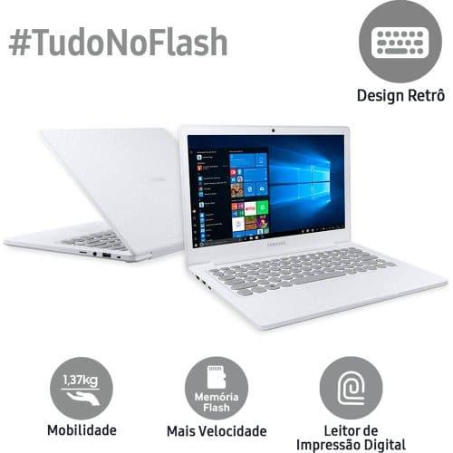 """O Notebook Samsung Flash F30 NP530XBB-AD2BR com processador Intel Celeron Dual Core (N4000) de 1.1 GHz a 2.6 GHz e 4 MB cache, 4GB de memória RAM (LPDDR4 2133 MHz), SSD de 128GB, Tela LED Full HD de 13,3"""" antirreflexiva com resolução máxima de 1920 X 1080, Placa de Vídeo integrada Intel UHD Graphics 600, Conexões USB e HDMI, Wi-Fi 802.11 b/g/n/ac, Webcam (VGA) com microfone, Não possui Drive de DVD, Bateria de 39 Wh, Peso aproximado de 1,37kg e Sistema Operacional Windows 10 64 bits."""