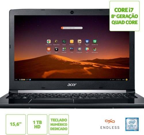 """O Notebook Acer Aspire 5 A515-51-C0ZG NX.GZ0AL.001 possui processador Intel Core i7 (8550U - 8ª geração) de 1.8 GHz a 4 GHz e 8MB cache, 8GB de memória RAM (DDR4 2400MHz - expansível até 20GB sendo 1 slot soDIMM), HD de 1 TB (5.400 RPM), Tela LED HD de 15,6"""" e resolução máxima de 1366 x 768, Placa de Vídeo integrada Intel UHD Graphics 620, Conexões USB e HDMI, Wi-Fi 802.11 b/g/n/ac, Webcam (720p), Não possui Drive de DVD, Bateria de 4 células, Slot M.2 2280 compatível com SSD SATA III até 512 GB, Peso aproximado de 2,1kg e Linux Endless."""
