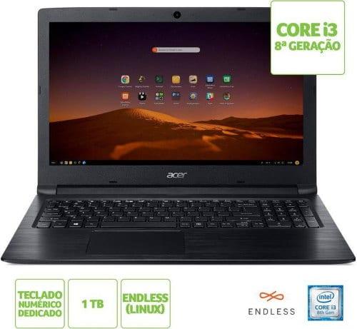 """Conheça o Notebook Acer Aspire 3 A315-53-365Q NX.H3PAL.005 com processador Intel Core i3 (8130U) de 2.2 GHz a 3.4 GHz e 4 MB cache, 4GB de memória RAM (DDR4 2400 MHZ- 4GB soldado e expansível até 12GB sendo 1 slot disponpível), HD de 1 TB (5.400 RPM), Tela LED HD de 15,6"""" antirreflexiva com resolução máxima de 1366 x 720, Placa de Vídeo integrada Intel UHD Graphics 620, Conexões USB e HDMI, Wi-Fi 802.11 b/g/n/ac, Não possui Drive de DVD, Bateria de 3 células(37Wh - 4810mAh), slot M.2 para a instalação de unidades SSD tamanho 2280 e 2240 que utilizem barramento SATA, Peso aproximado de 2,1kg e Sistema Operacional Linux Endless."""