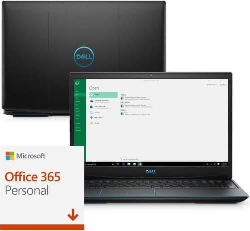 """O Notebook Gamer Dell G3-3590-A13P possui processador Intel Core i5 (9300H 9ª Geração) de 2.4 GHz a 4.1 GHz e 8MB cache, 8GB de memória RAM (DDR4 2666 MHz - 2 X 4GB), HD de 1 TB (5.400 RPM), Tela IPS Full HD de 15,6"""" com antirreflexiva com borda fina e resolução máxima de 1920 x 1080, Placa de Vídeo integrada Intel UHD Graphics 630 e NVIDIA Geforce GTX 1050 com 3GB de memória dedicada (GDDR5), Conexões USB e HDMI, Wi-Fi 802.11 b/g/n/ac, Webcam (720p), Não possui Drive de DVD, Bateria integrada de 3 células (51 Wh), Teclado retroiluminado na cor azul no padrão padrão US Internacional com marcações no WASD e resistente a respingos, Peso aproximado de 2,34kg e Windows 10 64 bits."""