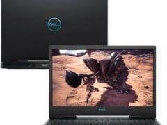"""O Notebook Gamer Dell G5-5590-M10P possui processador Intel Core i5 (9300H 9ª Geração) de 2.4 GHz a 4.1 GHz e 8MB cache, 8GB de memória RAM (DDR4 2666 MHz - 2 X 4GB), HD de 1 TB (5.400 RPM) e 128GB SSD (PCIe NVMe M.2), Tela IPS Full HD de 15,6"""" com 300 nits antirreflexiva e resolução máxima de 1920 x 1080, Placa de Vídeo integrada Intel UHD Graphics 630 e NVIDIA Geforce GTX 1650 com 4GB de memória dedicada (GDDR5), Conexões USB e HDMI, Wi-Fi 802.11 b/g/n/ac (trabalha na frequencia 2.4 GHz e 5 GHz), Webcam (720p), Não possui Drive de DVD, Bateria integrada de 4 células (60 Wh), Peso aproximado de 2,77kg e Windows 10 64 bits."""