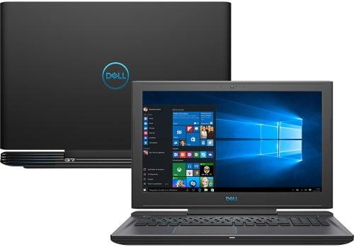"""Conheça o Notebook Gamer Dell G7-7588-A30P com processador Intel Core i7 (8750H) de 2.2 GHz a 4.1 GHz e 9MB cache, 16GB de memória RAM (DDR4 2666 MHz - expansível até 32GB), HD de 1 TB (5.400 RPM) + SSD 256GB, Tela IPS Full HD de 15,6"""" Antirreflexo e resolução máxima de 1920 x 1080, Placa de Vídeo integrada Intel UHD Graphics 630 e NVIDIA Geforce GTX 1050Ti com 4GB de memória dedicada (GDDR5), Conexões USB e HDMI, Wi-Fi 802.11 b/g/n/ac (trabalha na frequencia 2.4 GHz e 5 GHz), Webcam (720p), Não possui Drive de DVD, Bateria de 4 células (56 Wh), teclado retroiluminado, Peso aproximado de 2,6kg e Windows 10 64 bits."""