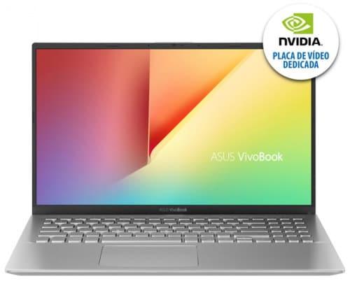 """O Notebook Asus Vivobook X512FJ-EJ228T possui processador Intel Core i7 (8565U - 8ª geração) de 1.8 GHz a 4.6 GHz e 8MB cache, 8GB de memória RAM (DDR4 2400 MHz- 0 GB Onboard + 8 GB Offboard sendo expansível ate 16GB), HD de 1 TB (5.400 RPM), Tela LED Full HD de 15,6"""" NanoEdge e resolução máxima de 1920 x 1080, Placa de Vídeo integrada Intel UHD Graphics 620 e NVIDIA Geforce MX230 com 2GB de memória dedicada (GDDR5), Conexões USB e HDMI, Wi-Fi 802.11 b/g/n/ac, Webcam (HD), Não possui Drive de DVD, Bateria de 3 células (2600 mAh), Peso aproximado de 1,75kg e Windows 10 64 bits."""