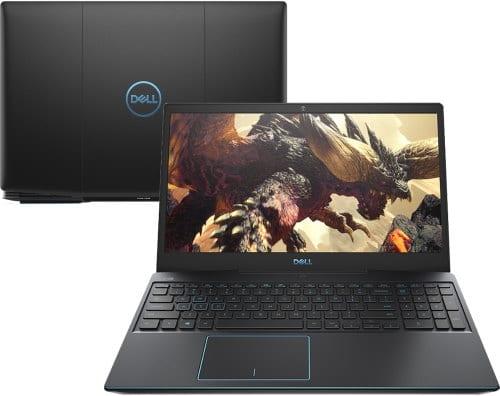 """O Notebook Gamer Dell G3-3590-A20P possui processador Intel Core i5 (9300H 9ª Geração) de 2.4 GHz a 4.1 GHz e 8MB cache, 8GB de memória RAM (DDR4 2666 MHz - 2 X 4GB), SSD de 128GB (M.2 PCIe NVMe) + HD de 1 TB (5.400 RPM) híbrido, Tela LED Full HD de 15,6"""" com antirreflexiva com borda fina e resolução máxima de 1920 x 1080, Placa de Vídeo integrada Intel UHD Graphics 630 e NVIDIA Geforce GTX 1650 com 4GB de memória dedicada (GDDR5), Conexões USB e HDMI, Wi-Fi 802.11 b/g/n/ac, Webcam (720p), Não possui Drive de DVD, Bateria integrada de 3 células (51 Wh), Teclado retroiluminado na cor azul no padrão padrão US Internacional com marcações no WASD e resistente a respingos, Peso aproximado de 2,34kg e Windows 10 64 bits."""