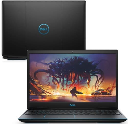 """O Notebook Gamer Dell G3-3590-U50P possui processador Intel Core i5 (9300H 9ª Geração) de 2.4 GHz a 4.1 GHz e 8MB cache, 8GB de memória RAM (DDR4 2666 MHz - 2 X 4GB), SSD de 512GB (M.2 PCIe) + HD de 1 TB (5.400 RPM) híbrido, Tela LED Full HD de 15,6"""" com antirreflexiva com borda fina e resolução máxima de 1920 x 1080, Placa de Vídeo integrada Intel UHD Graphics 630 e NVIDIA Geforce GTX 1650 com 4GB de memória dedicada (GDDR5), Conexões USB e HDMI, Wi-Fi 802.11 b/g/n/ac, Webcam (720p), Não possui Drive de DVD, Bateria integrada de 3 células (51 Wh), Teclado retroiluminado na cor azul no padrão padrão US Internacional com marcações no WASD e resistente a respingos, Peso aproximado de 2,34kg e Linux Ubuntu 18.04."""