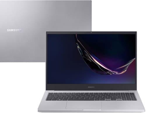 """O Notebook Samsung Book X55 NP550XCJ-XS2BR possui processador Intel Core i7 (10510U - 10ª Geração) de 1.8 GHz a 4.9 GHz e 8 MB cache, 16GB de memória RAM (DDR4 - 16Gb), SSD de 128 GB NVMe e HD de 1TB (5.400 RPM), Tela LED HD de 15,6"""" antirreflexiva com resolução máxima de 1366 x 768, Placa de Vídeo integrada Intel UHD Graphics e NVIDIA Geforce MX110 com 2GB de memória dedicada (GDDR5), Conexões USB e HDMI, Wi-Fi 802.11 b/g/n/ac, Não possui Drive de DVD, Bateria de 3 células (43Wh), Peso aproximado de 1,94kg e Sistema Operacional Windows 10 64 bits."""