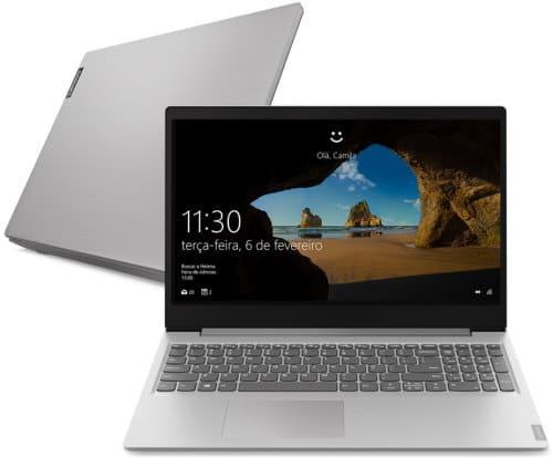 """O Notebook Lenovo Ideapad S145 82DJ0001BR possui processador Intel Core i5 1035G1 - 10ª Geração) de 1 GHz a 3.6 GHz e 6 MB cache, 8GB de memória RAM (DDR4 - 4GB soldado + 4GB slot DDR4 2400MHz), HD de 1 TB (5400 RPM) e 1 slot m.2 livre, Tela LED HD de 15,6"""" antirreflexiva com resolução máxima de 1366 x 768, Placa de Vídeo integrada Intel UHD Graphics, Conexões USB e HDMI, Wi-Fi 802.11 b/g/n/ac, Não possui Drive de DVD, Bateria de 2 células (30Wh), Peso aproximado de 1,85kg e Sistema Operacional Windows 10 64 bits."""