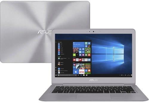"""O Notebook ASUS ZenBook UX330UA-FC046T possui processador Intel Core i5 (6200U) de 2.30 GHz a 2.80 GHz e 3 MB cache, memória de 8 GB LPDDR3, SSD de 256GB, Tela 13.3"""" polegadas (16:9) LED backlit FHD (1920x1080 pixels) 60Hz Anti-Glare Panel with 72% NTSC with IPS, Placa de Vídeo Gráficos HD Intel® 530, Conexões USB e HDMI, placa de rede wireless, bluetooth v4.1, Não possui Drive de DVD, Bateria de 3 células, Peso aproximado de 1,20Kg e Sistema Operacional Windows® 10 Home de 64 bits"""