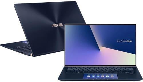 """O Notebook ASUS ZenBook UX434FAC-A6340T possui processador Intel Core i7 (10510U) de 1.80 GHz a 4.90 GHz e 8 MB cache, memória de 8 GB LPDDR3, SSD de 256GB, Tela 14,0"""" polegadas (16:9) LED-retroiluminada FHD (1920x1080 pixels) 60Hz Glare Painel 72% NTSC com ângulo de visão de 178˚, Placa de Vídeo Intel® UHD Graphics com memória compartilhada com a memória RAM, Conexões USB e HDMI, placa de rede wireless, bluetooth v5.0, Não possui Drive de DVD, Bateria de 3 células, Peso aproximado de 1,26Kg e Sistema Operacional Windows® 10 Home de 64 bits."""