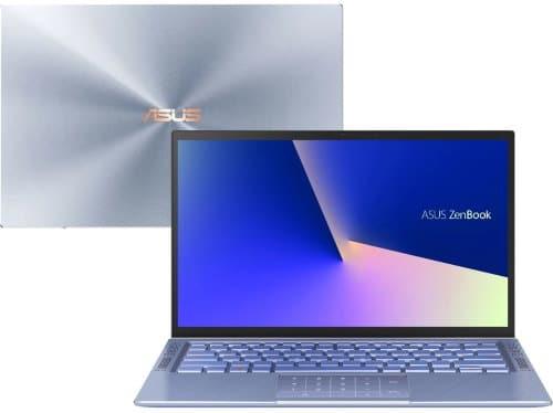 """O Notebook Asus Zenbook UX431FA-AN203T possui processador Intel Core i7 (10510U) de 1.80 GHz a 4.90 GHz e 8 MB cache, memória de 8 GB LPDDR3 2133MHz, SSD de 256GB, Tela LED Glare de 14"""" polegadas Full HD com resolução máxima de 1920 X 1080, Placa de Vídeo Intel® UHD Graphics com memória compartilhada com a memória RAM, Conexões USB e HDMI, 802.11ac Dual Band 2*2, Não possui Drive de DVD, Bateria de 3 células, Peso aproximado de 1,33Kg e Sistema Operacional Windows® 10 Home de 64 bits."""