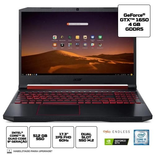 """O Notebook Gamer Acer Nitro 5 AN517-51-50JS possui processador Intel Core (i5-9300H) de 2.40 GHz a 4.10 GHz e 8 MB cache, memória de 8 GB DDR4, SSD de 512GB, Tela 17.3"""" polegadas IPS (In-Plane Switching) Full HD (1920 x 1080 pixels) de 60 Hz e Tempo de resposta de 25~27ms, Anti reflexiva, Ultra-slim Placa de Vídeo NVIDIA® GeForce GTX™ 1650 com memória dedicada VRAM de 4GB GDDR5, Conexões USB e HDMI, placa de rede wireless, bluetooth v5.0, Não possui Drive de DVD, Bateria de 4 células, Peso aproximado de 2,70Kg e Sistema Operacional Endless OS de 64 bits."""