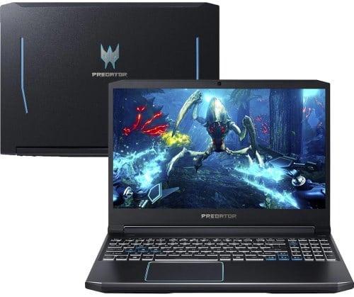 """O Notebook Gamer Acer Predator Helios 300 PH315-52-748U possui processador Intel Core i7 (9750H) de 2.60 GHz a 4.60 GHz e 12 MB cache, memória de 16 GB DDR4, SSD de 128GB + HD de 1TB, Tela 15,6"""" polegadas IPS Anti-Reflexivo Ultra Slim FHD (Full HD) 60Hz e 25~ 27ms, Placa de Vídeo NVIDIA® GeForce™ GTX 1660TI com 6 GB GDDR6 de VRAM dedicada, Conexões USB e HDMI, placa de rede wireless, bluetooth v5.0, Não possui Drive de DVD, Bateria de 4 células, Peso aproximado de 2,40Kg e Sistema Operacional Windows® 10 Home de 64 bits."""