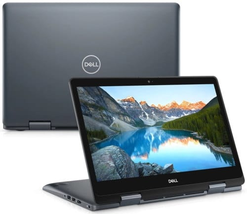 """O Notebook 2 em 1 Dell Inspiron i14-5481-ACC11 possui processador Intel Core i3 (8145U) de 2.10 GHz a 3.90 GHz e 4 MB cache, memória de 4 GB DDR4, SSD de 128GB, Tela 14"""" polegadas HD (1366 x 768 pixels) touchscreen, retroiluminada por LED, Placa de Vídeo Intel® UHD Graphics 610, Conexões USB e HDMI, placa de rede wireless, bluetooth v5.0, Não possui Drive de DVD, Bateria de 3 células, Peso aproximado de 1,74Kg e Sistema Operacional Windows® 10 Home de 64 bits."""