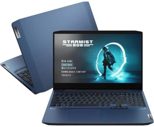 """O Notebook Lenovo Ideapad Gaming 3i 82CG0001BR possui processador Intel Core i7 (10750H) de 2.60 GHz a 5.00 GHz e 12 MB cache, memória de 8 GB DDR4, SSD de 256GB, Tela 15.6"""" polegadas Full HD (1920x1080 pixels) WVA Antirreflexo, Placa de Vídeo NVIDIA® GeForce™ GTX 1650 com memória dedicada VRAM de 4GB GDDR5, Conexões USB e HDMI, placa de rede wireless, bluetooth v5.0, Não possui Drive de DVD, Bateria de 3 células, Peso aproximado de 2,20Kg e Sistema Operacional Windows® 10 Home de 64 bits."""